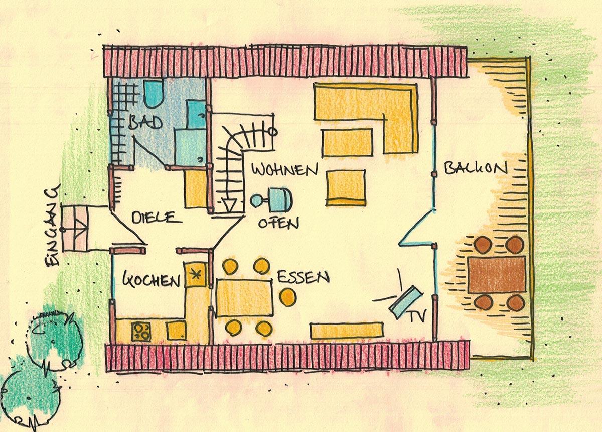 Plan Haus Seewiese Erdgeschoss. Ferienhaus Seewiese Ergeschoss